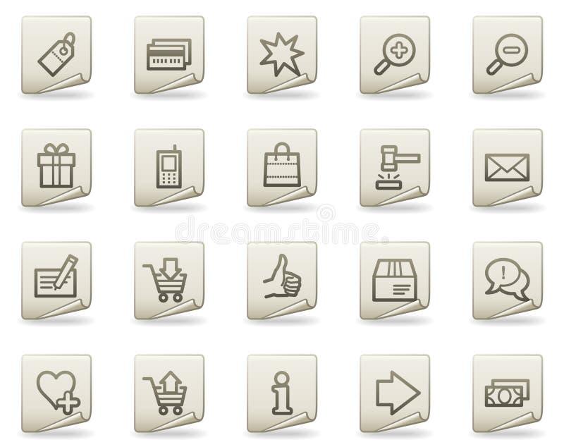 Icone di Web di acquisto, serie del documento illustrazione vettoriale