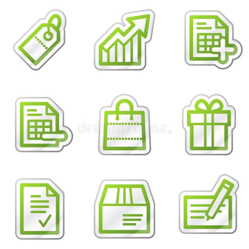 Icone di Web di acquisto, serie verde dell'autoadesivo di profilo illustrazione di stock