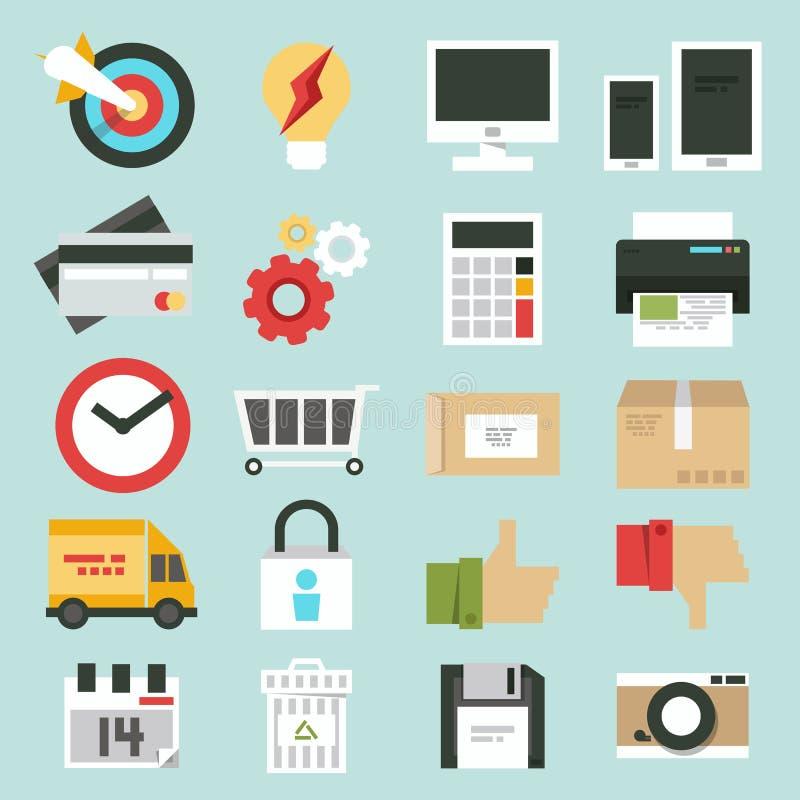 Icone di web di affari messe illustrazione di stock