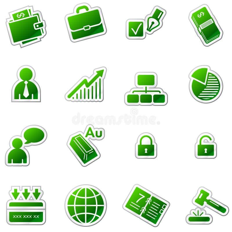 Icone di Web di affari, serie verde dell'autoadesivo royalty illustrazione gratis