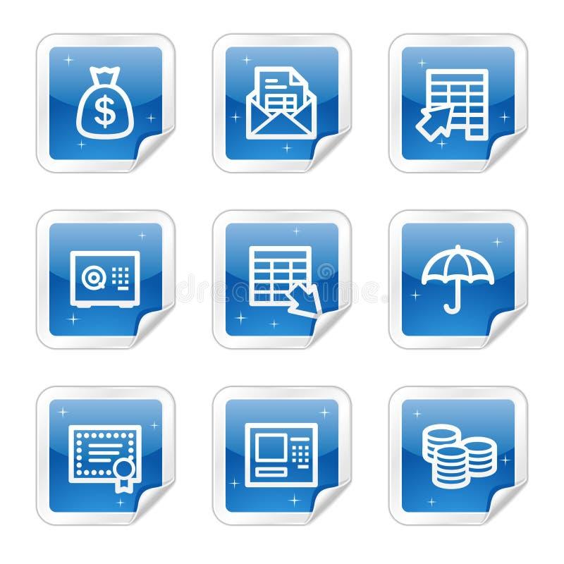 Icone di Web di attività bancarie, serie lucida blu dell'autoadesivo illustrazione vettoriale
