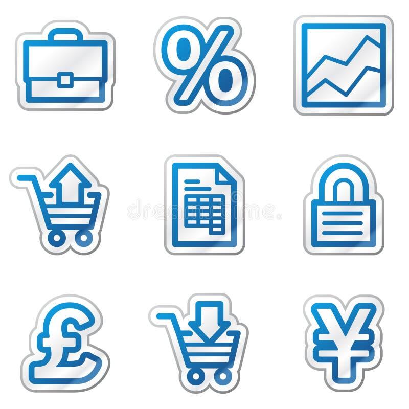 Icone di Web di commercio, serie blu dell'autoadesivo di profilo royalty illustrazione gratis