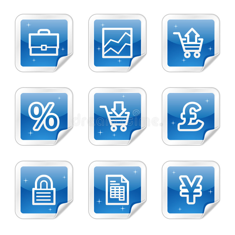 Icone di Web di commercio, serie lucida blu dell'autoadesivo illustrazione di stock