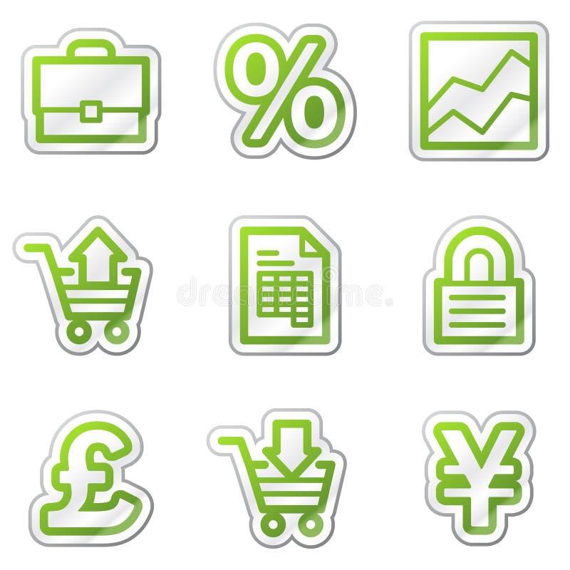 Icone di Web di commercio, serie verde dell'autoadesivo di profilo illustrazione vettoriale