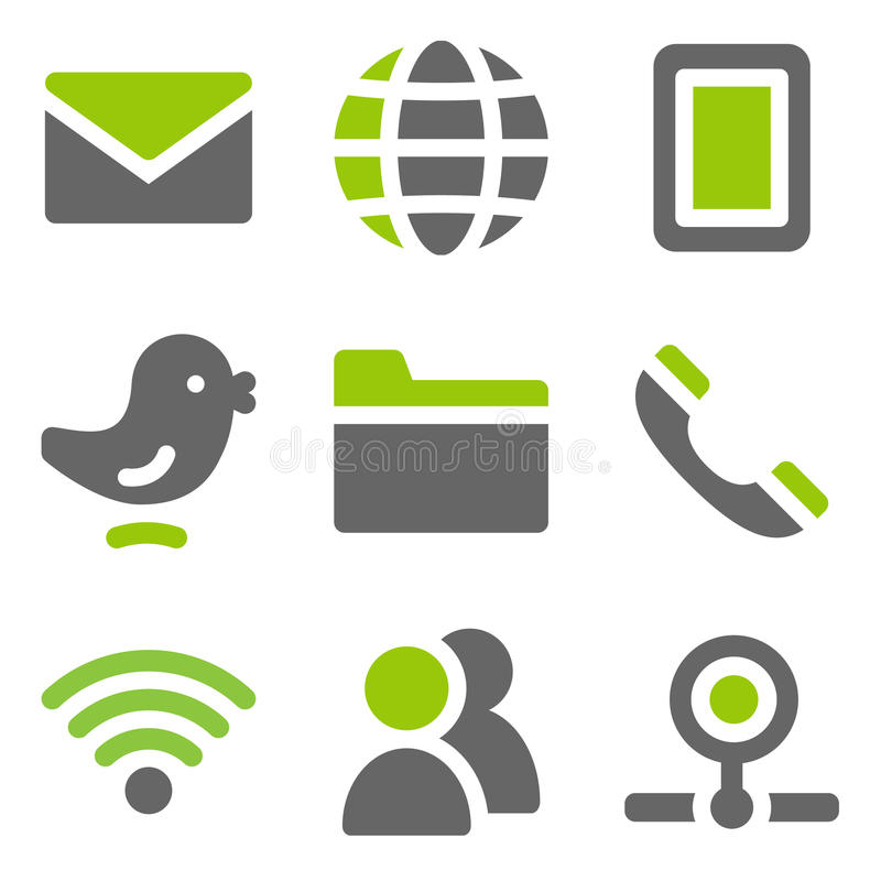 Icone di Web di comunicazione, icone solide grige verdi