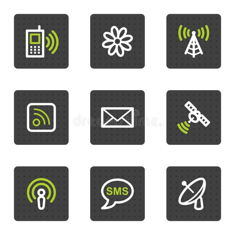 Icone di Web di comunicazione, tasti quadrati grigi illustrazione di stock