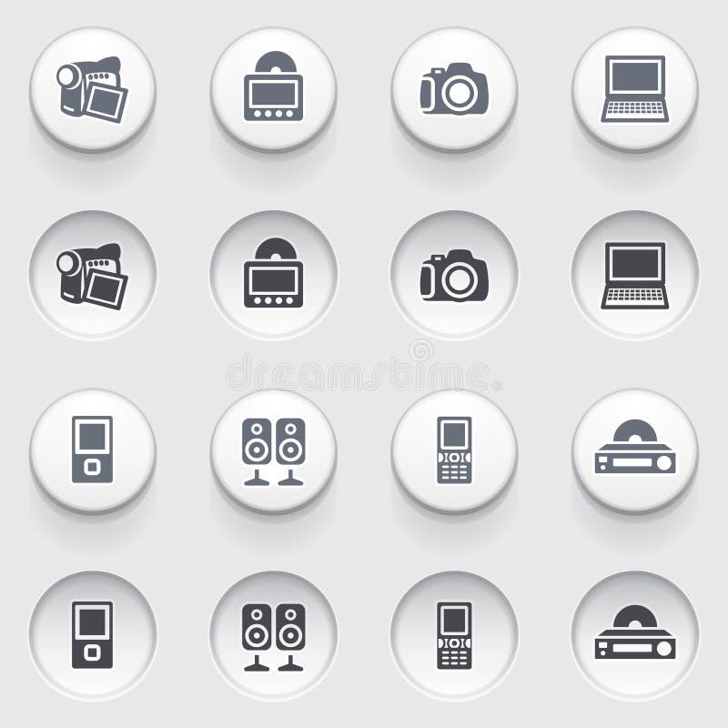 Icone di web di elettronica sui bottoni bianchi. Insieme 1. royalty illustrazione gratis