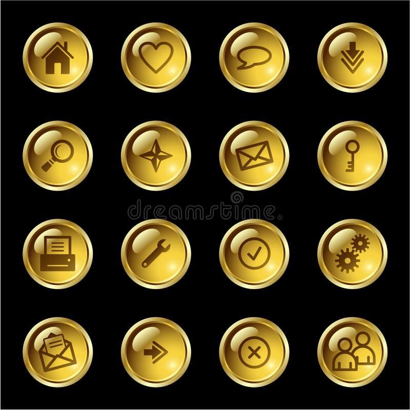 Icone di Web di goccia dell'oro royalty illustrazione gratis