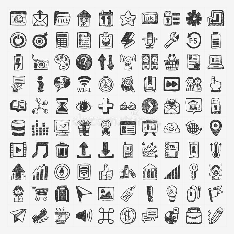 100 icone di web di scarabocchio royalty illustrazione gratis