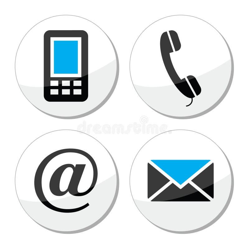 Icone di web e di Internet del contatto messe royalty illustrazione gratis