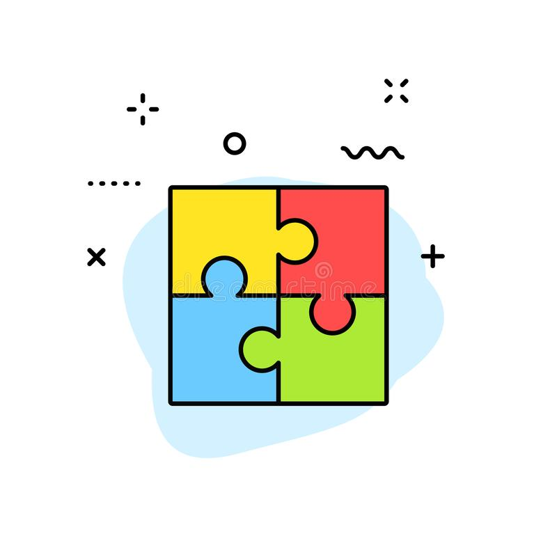 Icone di web di idea e di creatività nella linea stile Creatività, trovante soluzione, 'brainstorming', pensiero creativo, cervel illustrazione vettoriale
