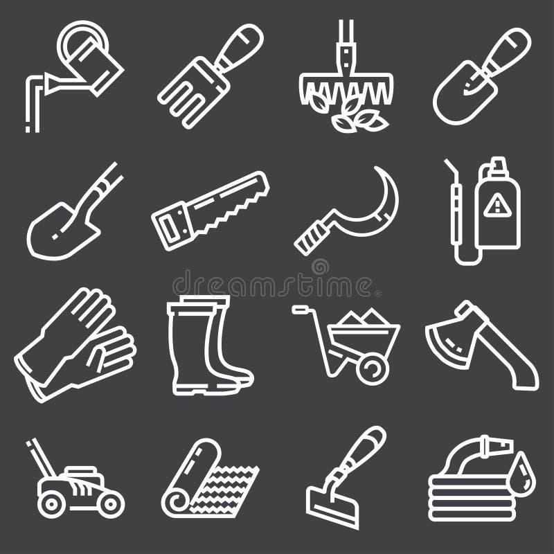 Icone di web messe - facendo il giardinaggio, strumenti illustrazione di stock