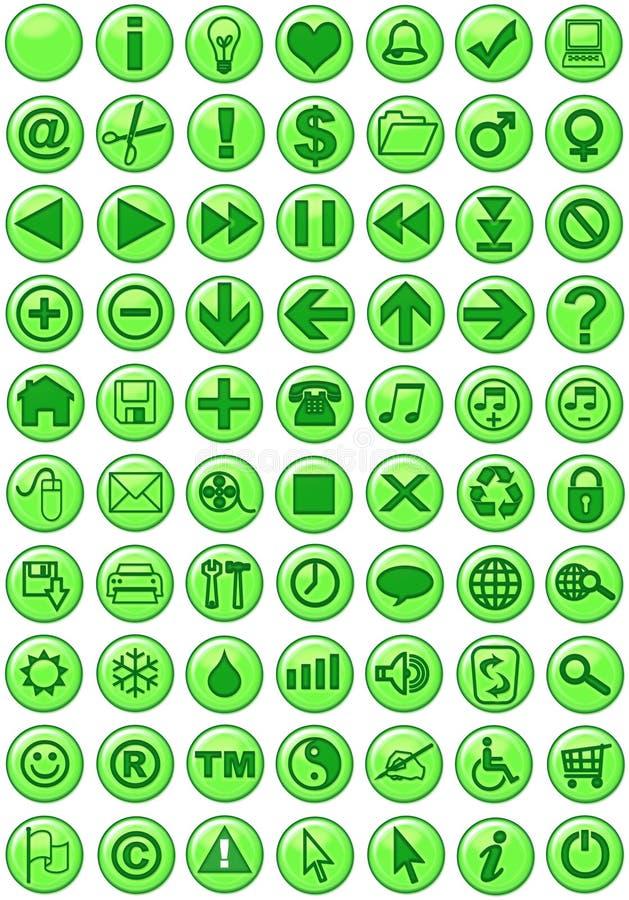 Icone di Web nel verde royalty illustrazione gratis