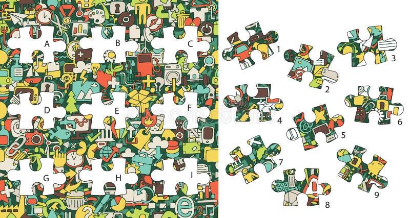 Icone di web: Pezzi della partita, gioco visivo Soluzione nello strato nascosto! illustrazione vettoriale