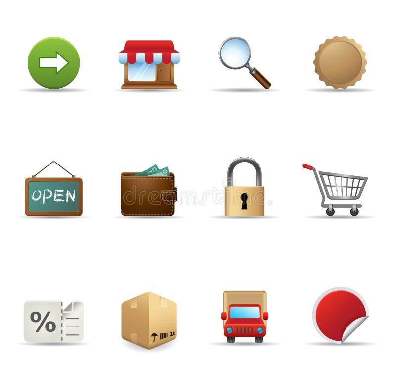 Icone di Web - più commercio elettronico illustrazione vettoriale