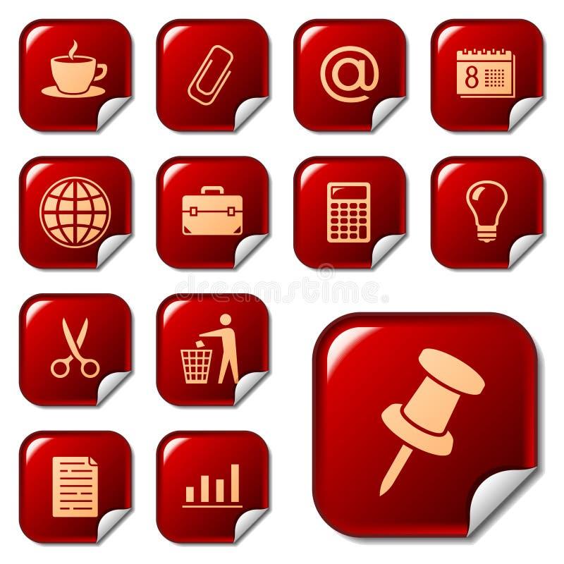 Icone di Web sui tasti 2 dell'autoadesivo illustrazione di stock