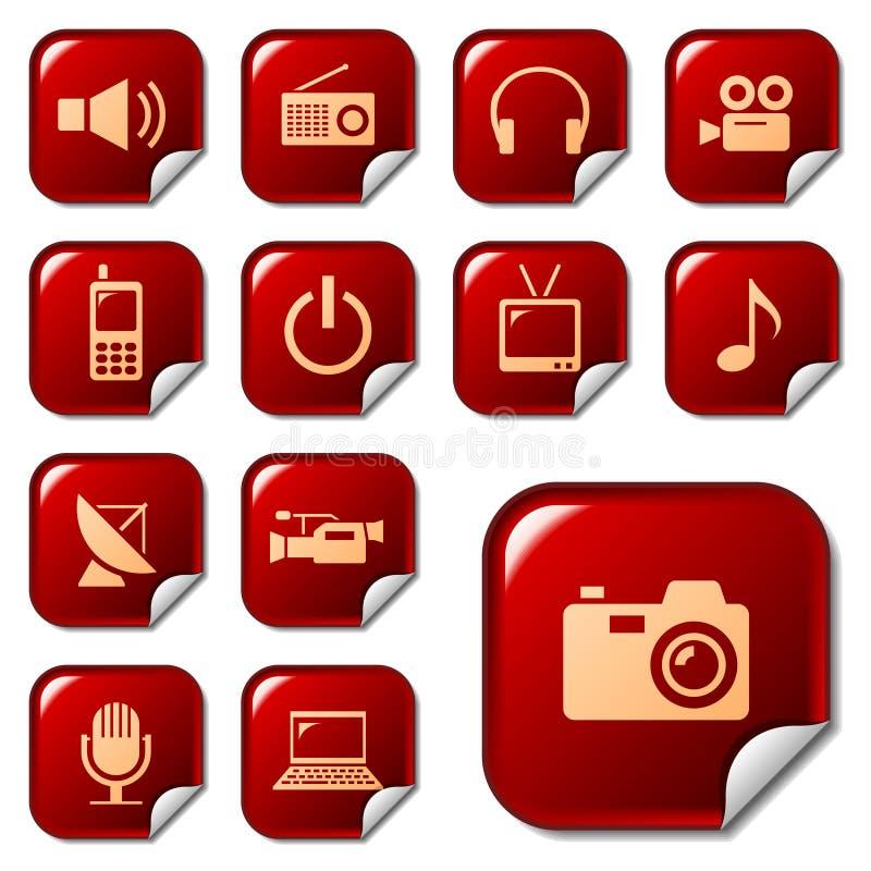 Icone di Web sui tasti 4 dell'autoadesivo illustrazione di stock