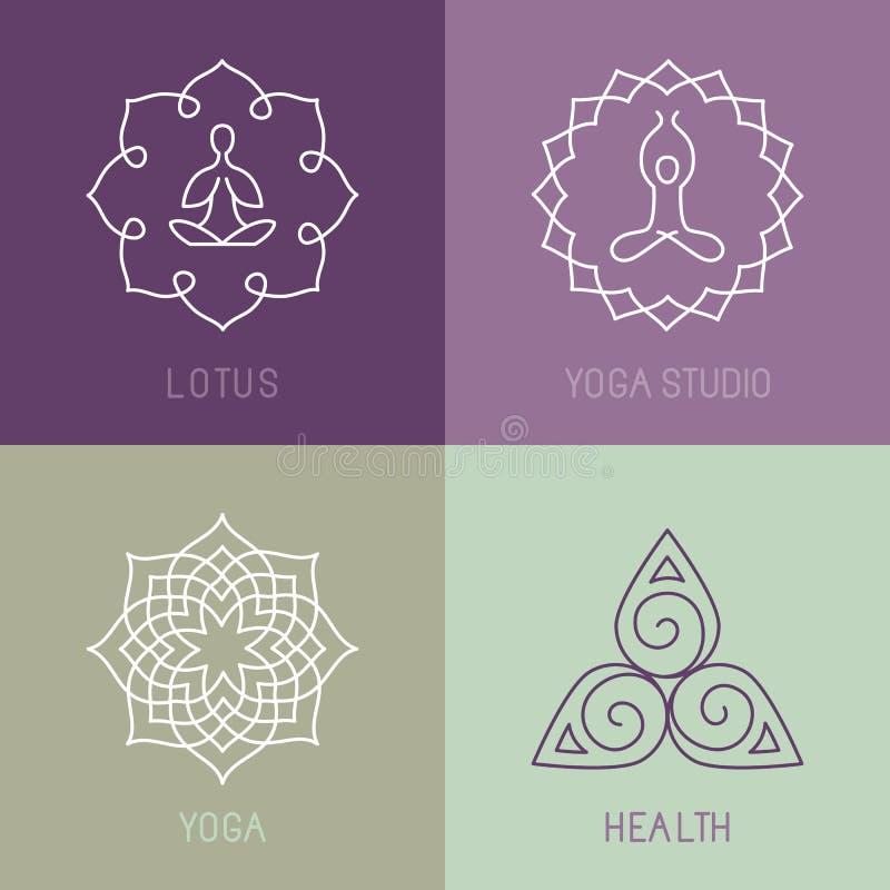Icone di yoga di vettore e linea rotonda distintivi illustrazione vettoriale