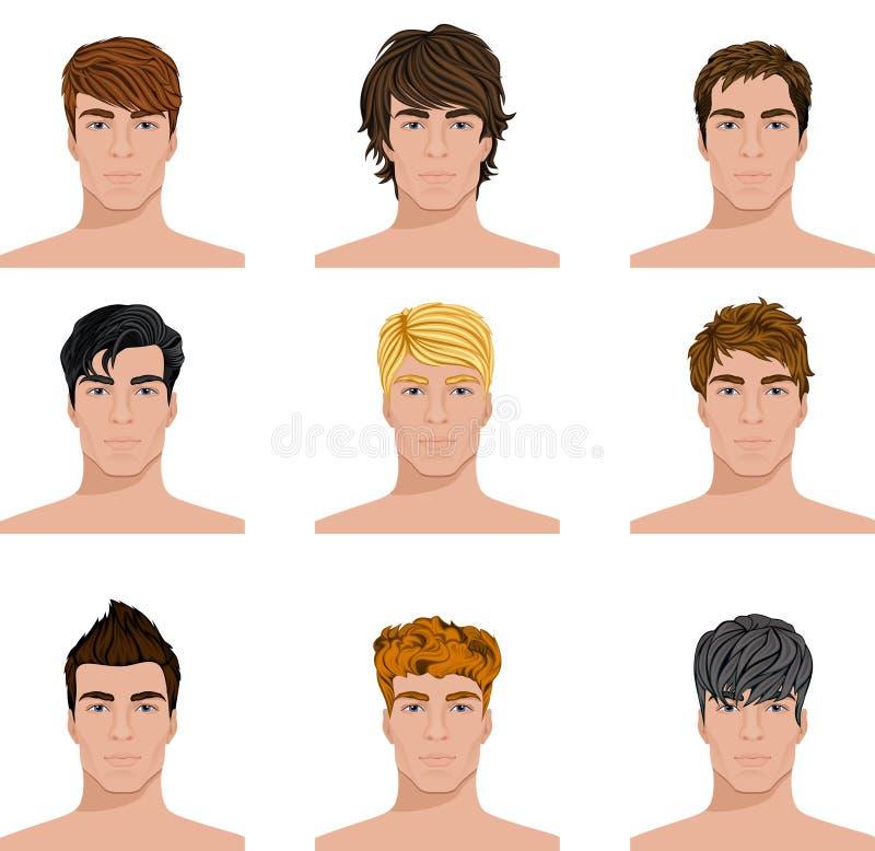 Icone differenti dei fronti degli uomini dell'acconciatura messe illustrazione di stock