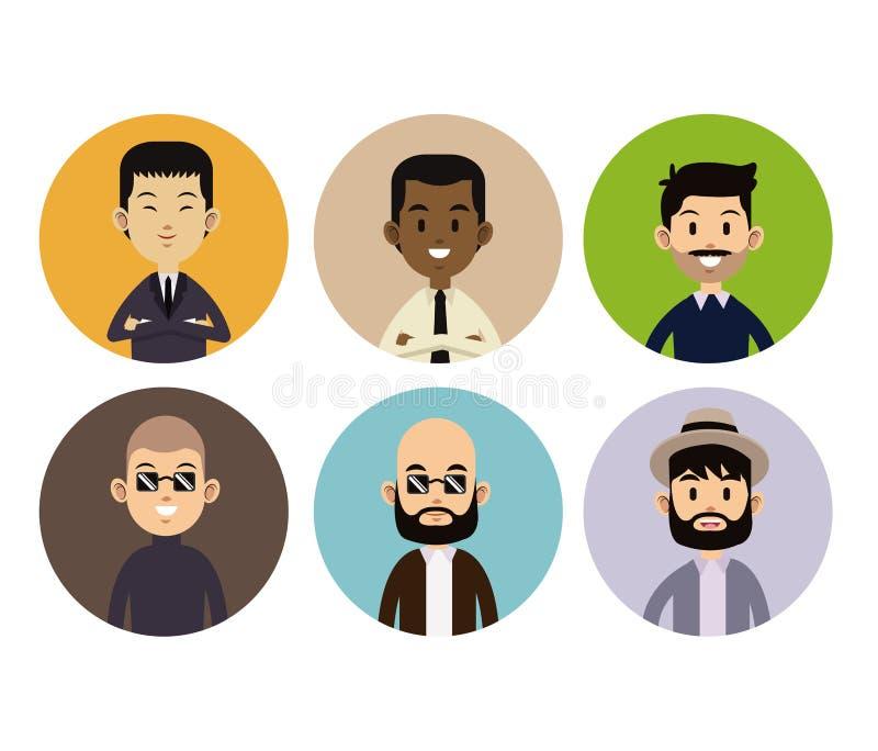 Icone differenti del cerchio di stile della gente del fronte dell'uomo illustrazione vettoriale