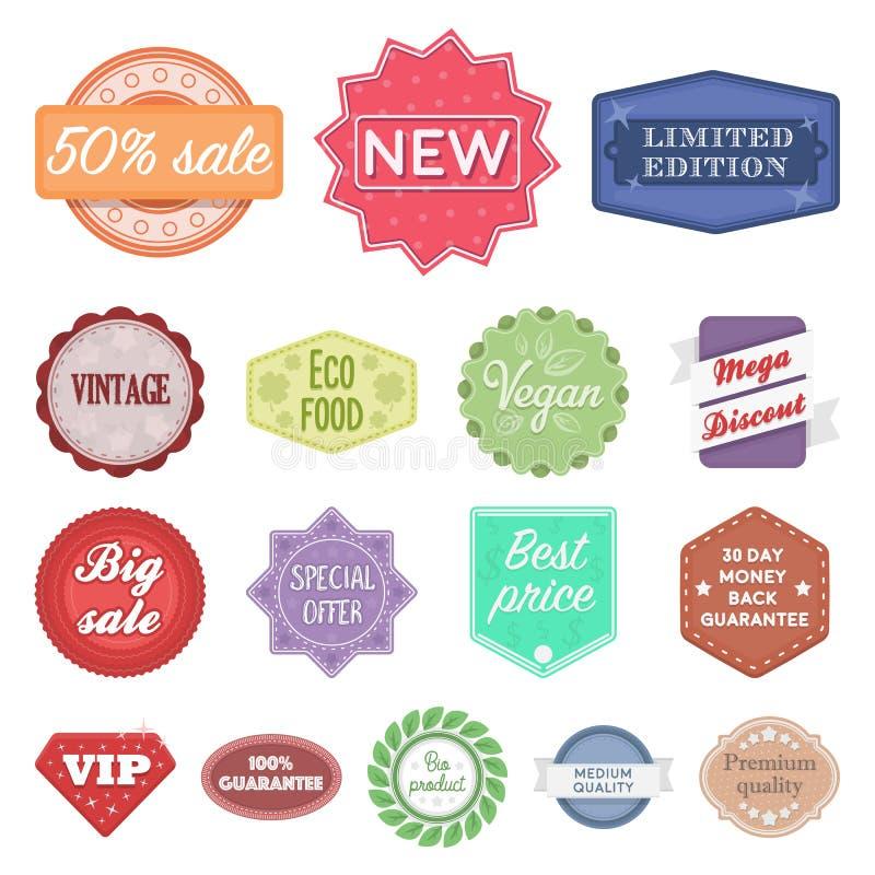Icone differenti del fumetto dell'etichetta nella raccolta dell'insieme per progettazione L'indice e la marca vector l'illustrazi illustrazione vettoriale