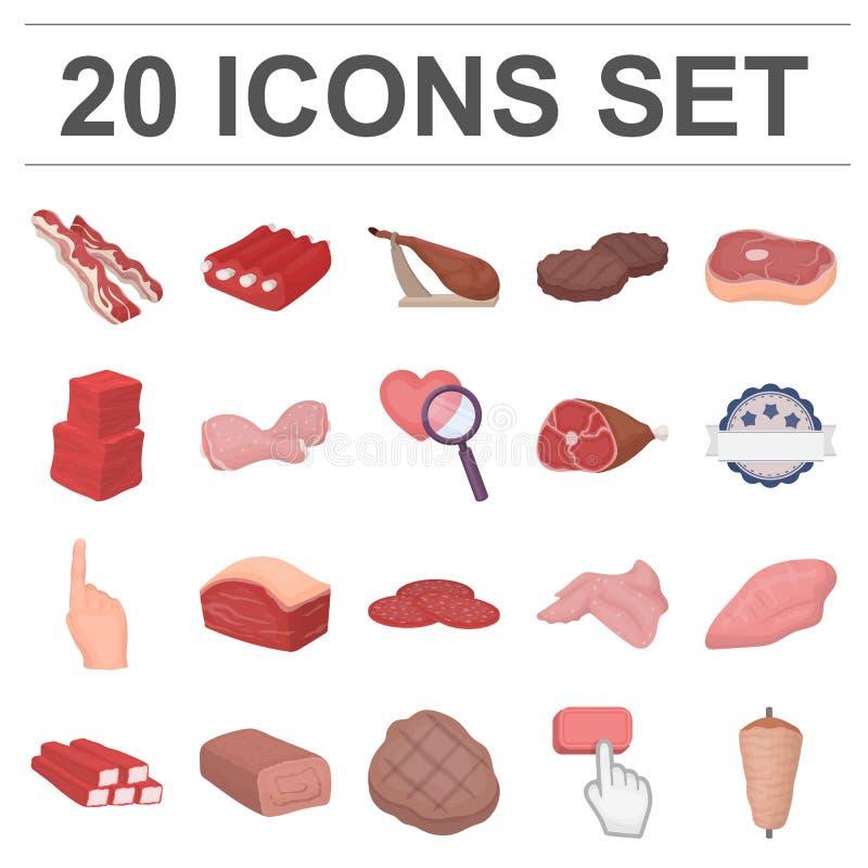 Icone differenti del fumetto della carne nella raccolta dell'insieme per progettazione illustrazione di stock