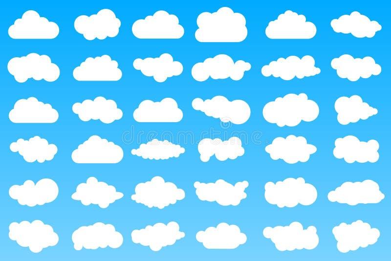 36 icone differenti della nuvola del fumetto sul fondo blu di pendenza illustrazione vettoriale