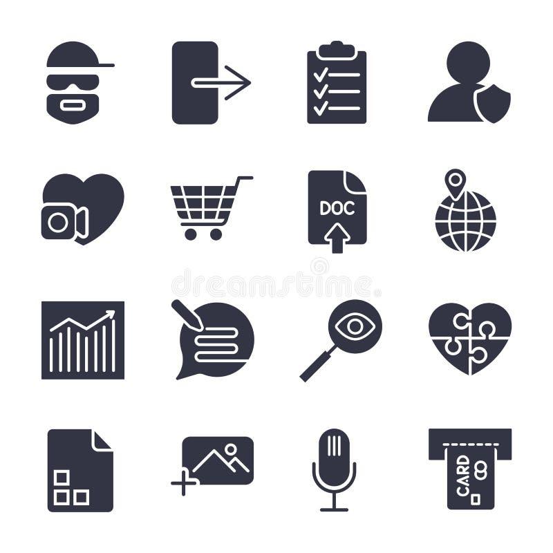 Icone differenti di vettore Icone semplici per i apps, i programmi ed il sito illustrazione vettoriale
