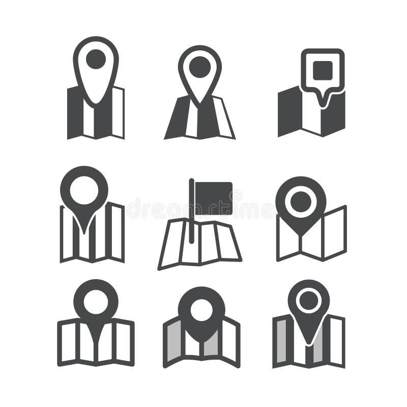 Icone differenti di web della mappa illustrazione vettoriale