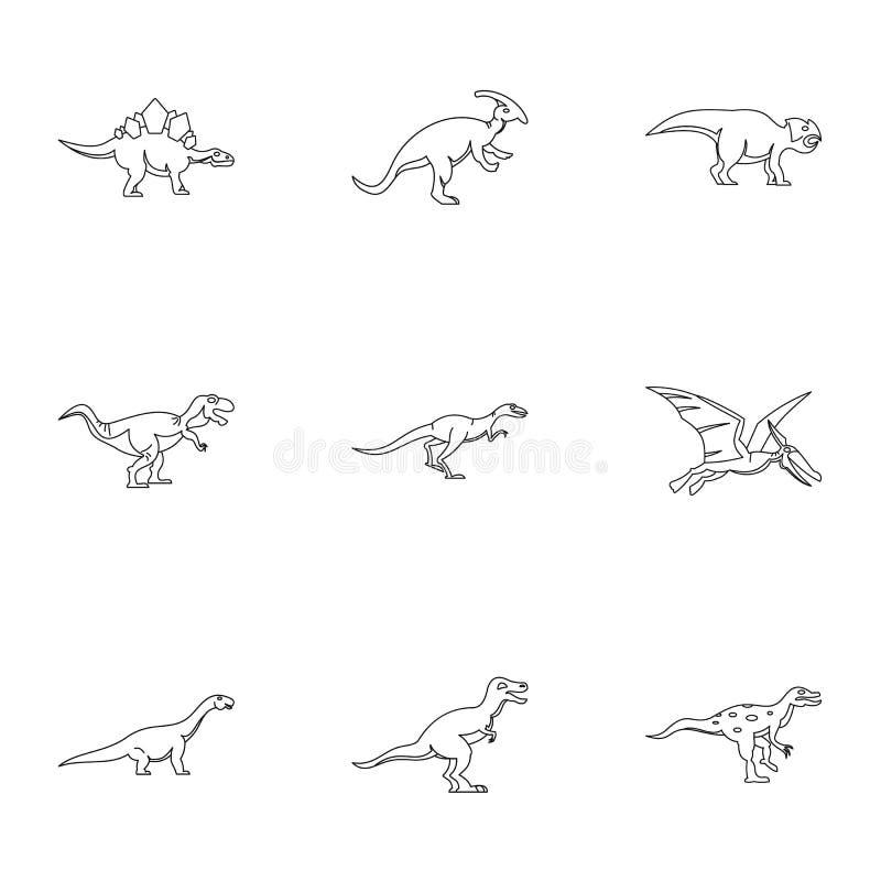 Icone differenti messe, stile del dinosauro del profilo illustrazione di stock