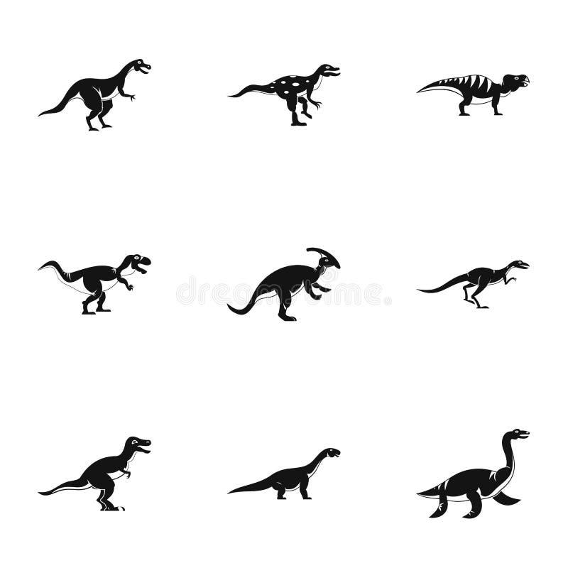 Icone differenti messe, stile semplice del dinosauro illustrazione vettoriale