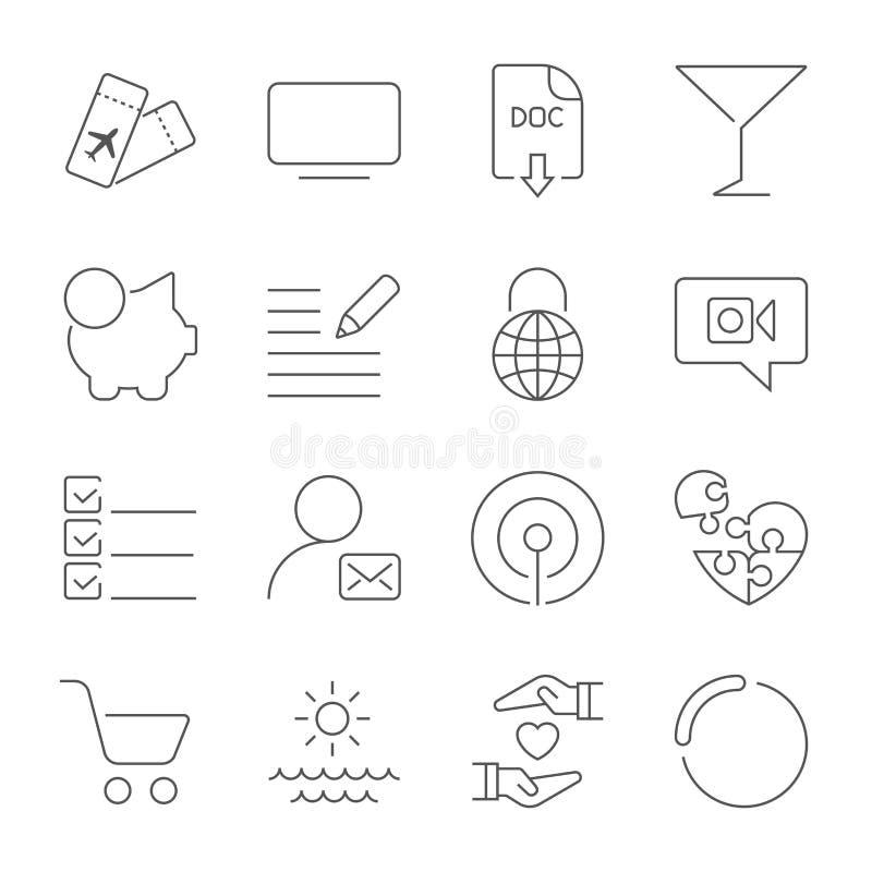 Icone differenti semplici messe Icone universali da usare per il web ed il cellulare Insieme di UI di di base illustrazione di stock