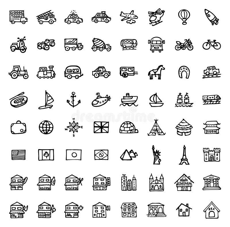 64 icone disegnate a mano in bianco e nero - TRASPORTO & ARCHITETTURA illustrazione di stock