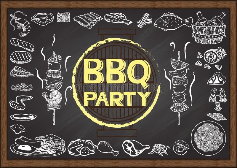 Icone disegnate a mano circa il partito del barbecue sulla lavagna illustrazione vettoriale