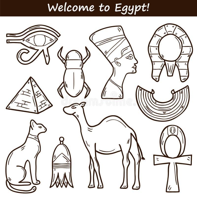 Icone disegnate a mano dell'Egitto illustrazione vettoriale