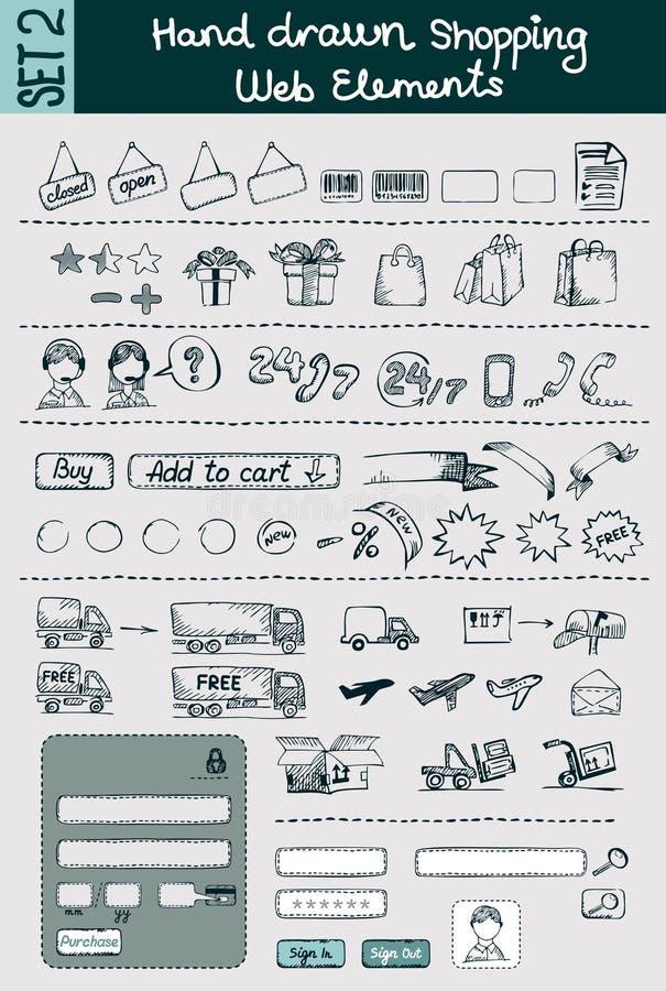 Icone disegnate a mano di commercio & di acquisto messe royalty illustrazione gratis