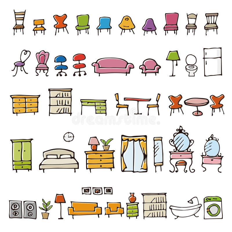 Icone disegnate a mano di schizzo della mobilia royalty illustrazione gratis