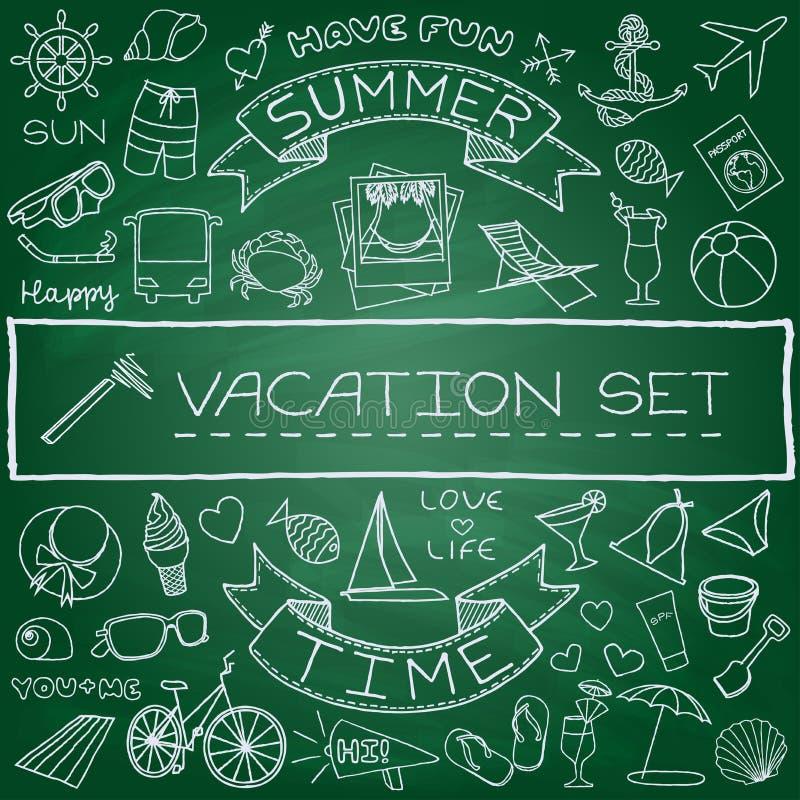Icone disegnate a mano di vacanza messe royalty illustrazione gratis