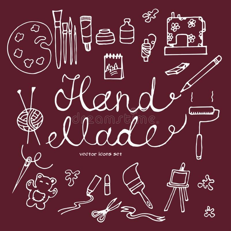 Icone disegnate a mano di vettore messe degli strumenti fatti a mano illustrazione di stock