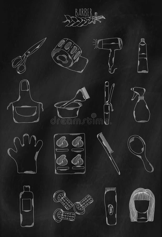 Icone disegnate a mano lineari sul bordo di gesso Accessori che appartengono al parrucchiere per creare le acconciature delle don royalty illustrazione gratis