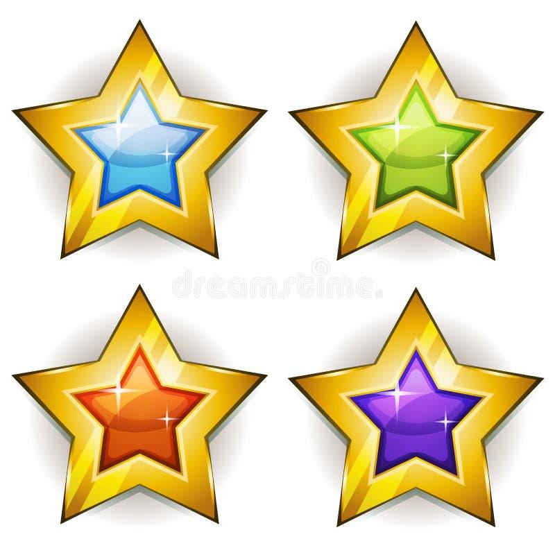 Icone divertenti delle stelle per il gioco di Ui illustrazione vettoriale