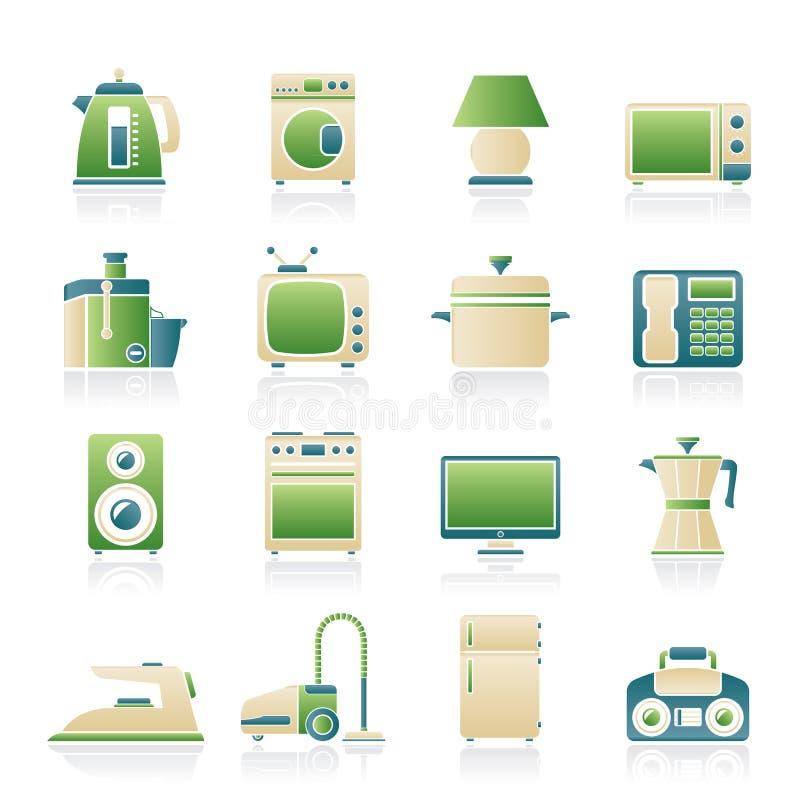 Icone domestiche dell'attrezzatura illustrazione vettoriale