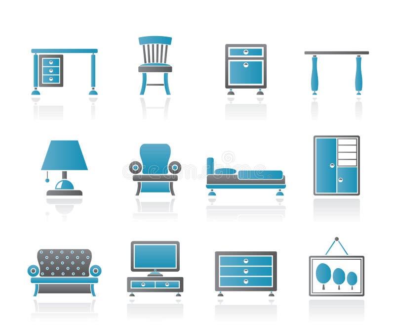 Icone domestiche della mobilia e della strumentazione royalty illustrazione gratis