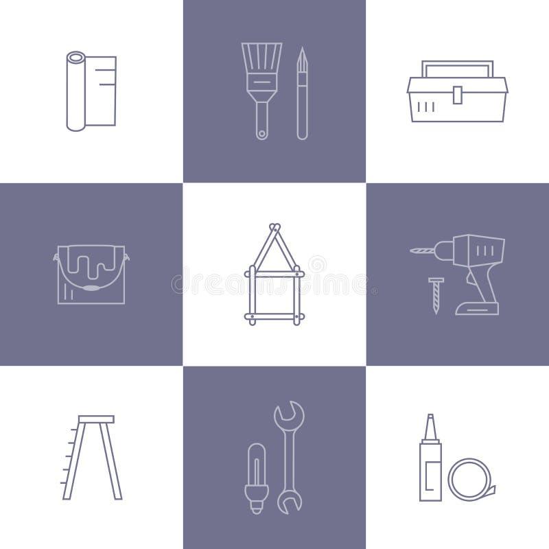 Icone domestiche di riparazione royalty illustrazione gratis