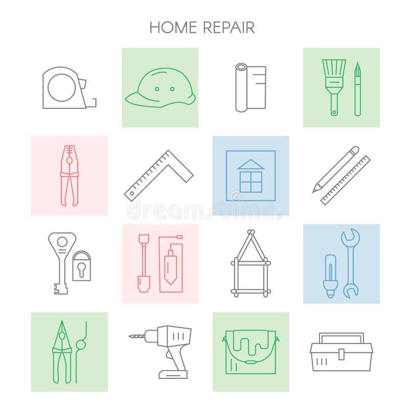 Icone domestiche di riparazione illustrazione vettoriale