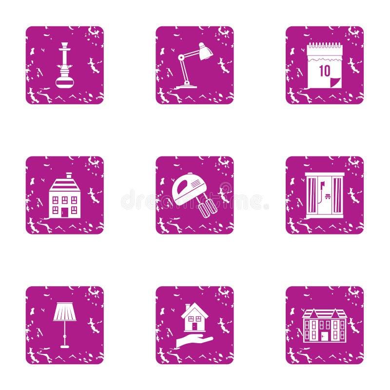 Icone domestiche messe, stile di epoca di lerciume illustrazione vettoriale