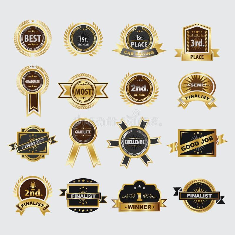 Icone dorate della corona dell'alloro di qualità premio messe illustrazione di stock