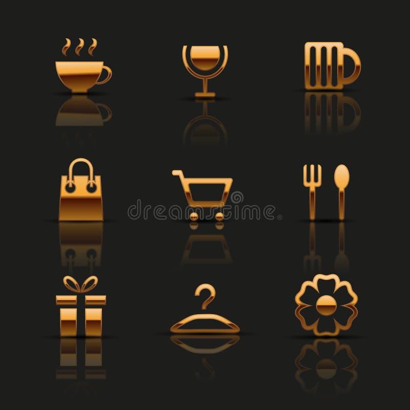 Icone dorate di web messe illustrazione di stock