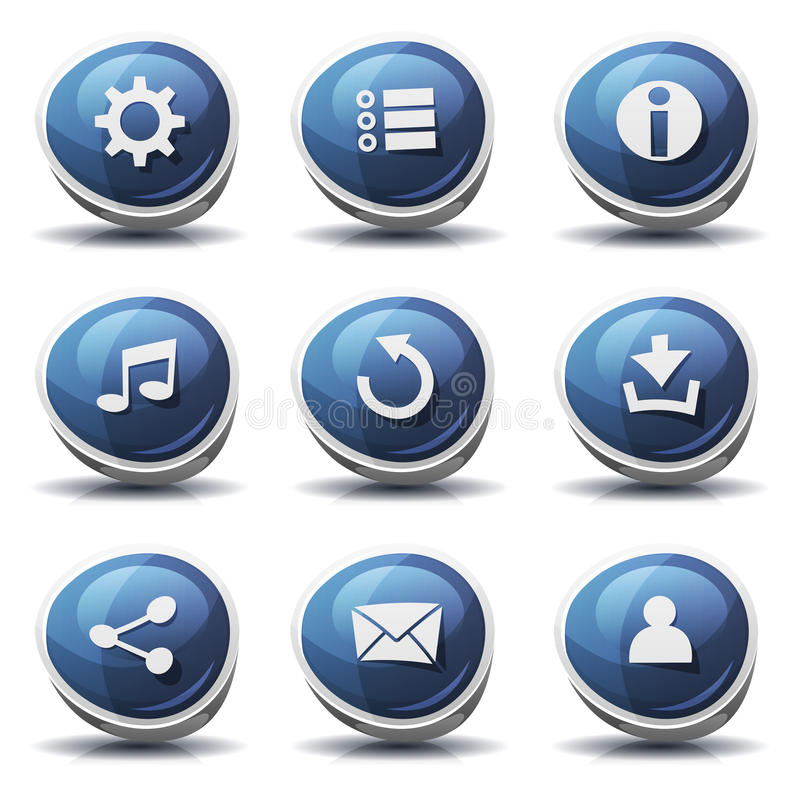 Icone e bottoni del segnale stradale per il gioco di Ui illustrazione di stock