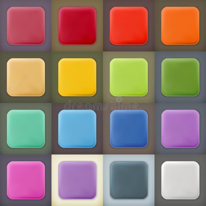 Icone e bottoni vuoti quadrati di web degli spazii in bianco illustrazione di stock